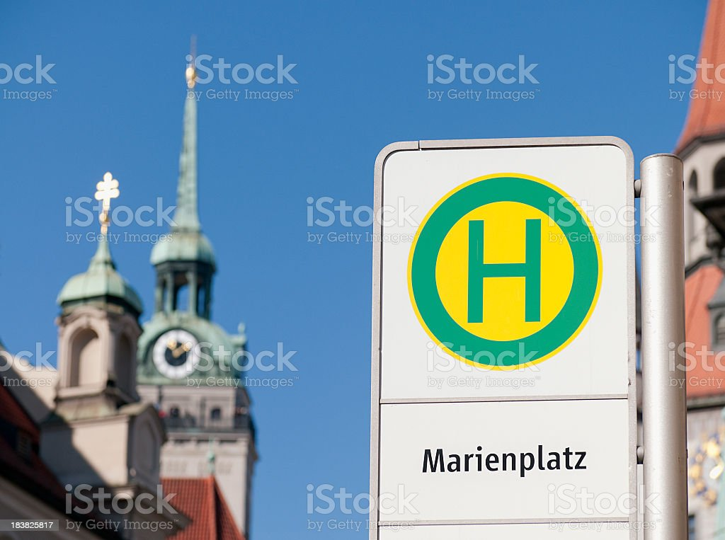 Marienplatz Bus Stop in Munich stock photo