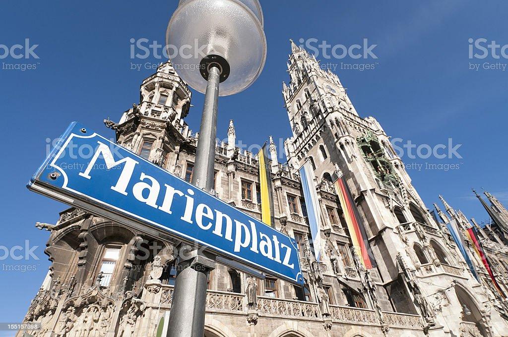 Marienplatz Sign in Munich stock photo