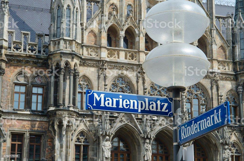 Marienplatz signpost in downtown Munich stock photo