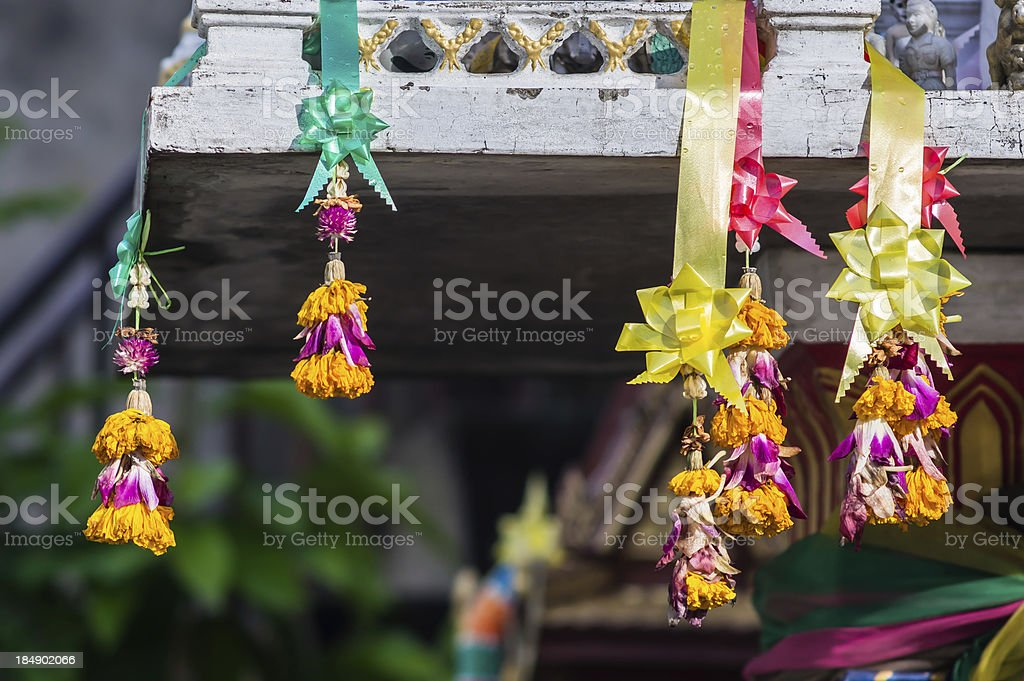 marigold garland and the joss house stock photo
