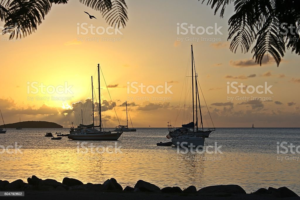 Marigot Bay golden sunset from the waterfront stock photo