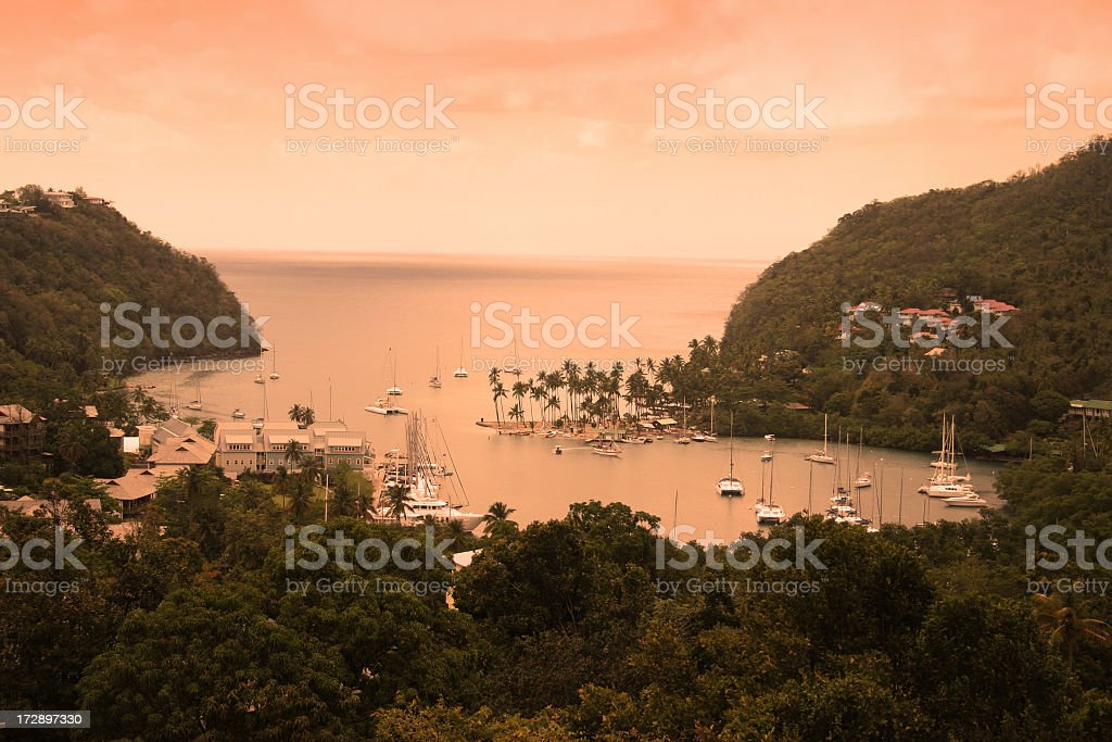 Marigot bay sunset stock photo