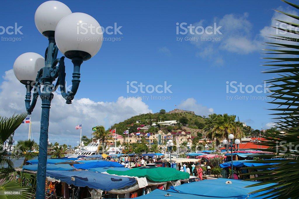 Marigot Bazaar at French St Martin stock photo