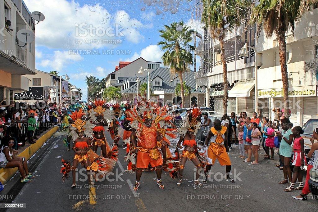 Marigot Carnival 2015 Ticker Tape falling stock photo