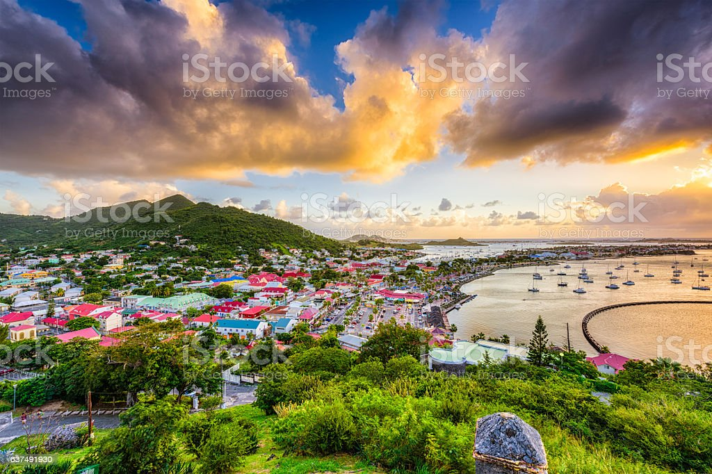 Marigot Saint Martin Skyline stock photo