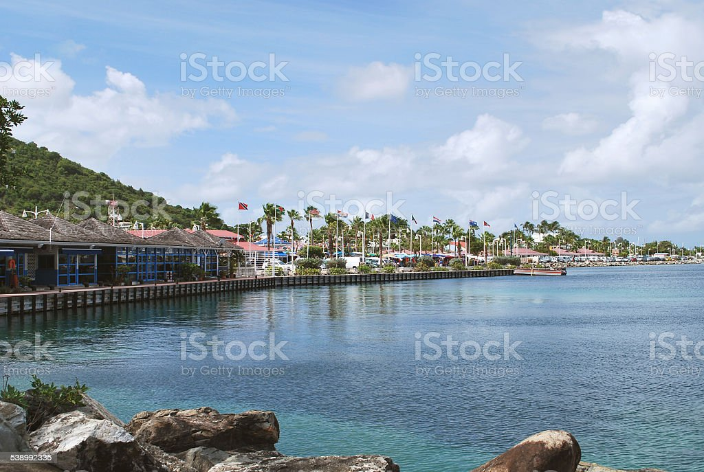 Marigot Town's Harbor, St. Martin Island stock photo