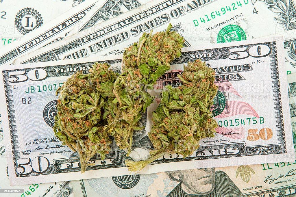 Marijuana and Dollar notes stock photo