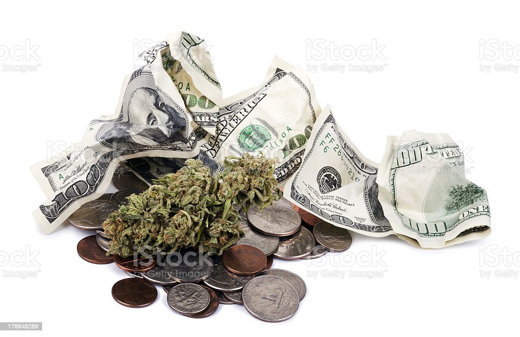 Marijuana, Change and Cash royalty-free stock photo