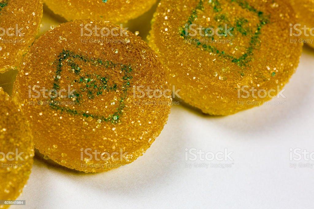 Marijuana edible pieces close close up stock photo