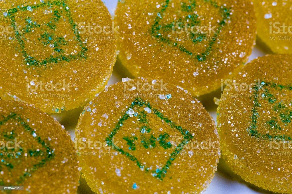 Marijuana edible pieces close close up shot stock photo