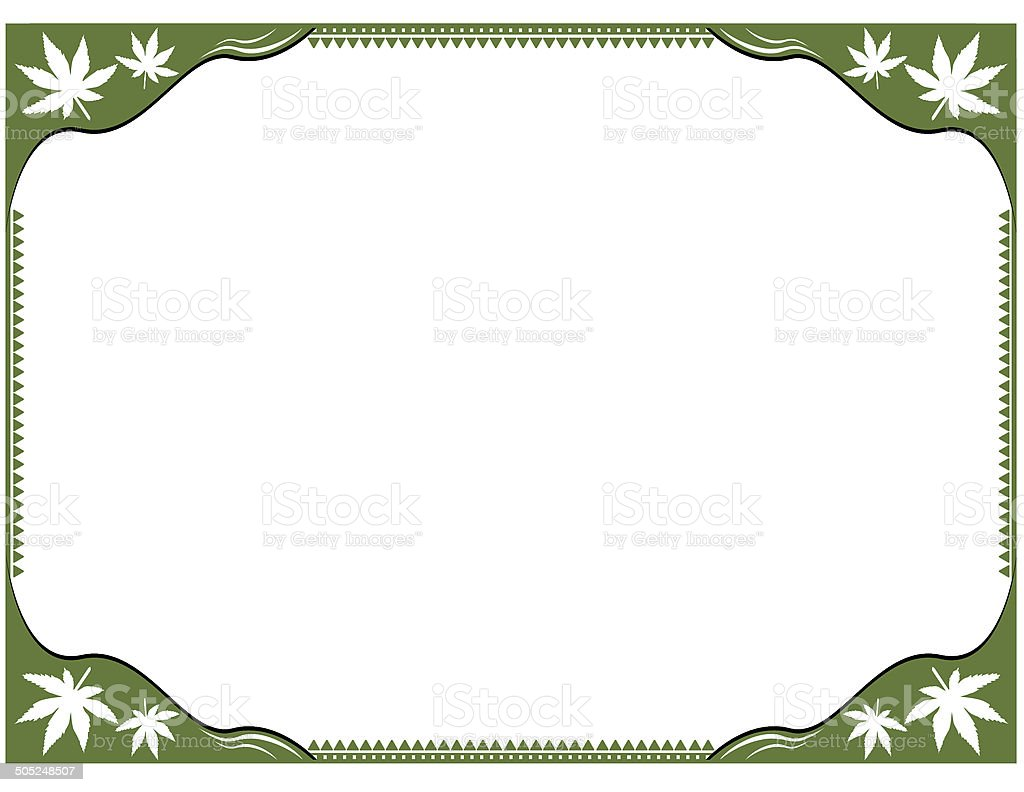 Marijuana green document frame in green color of the plant. Due to...