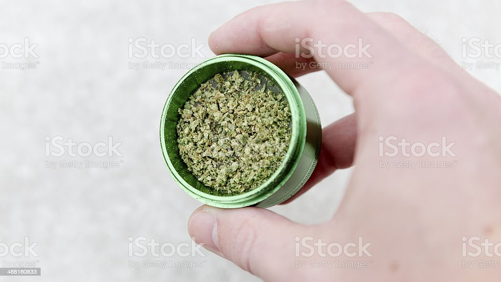Marijuana in grinder. stock photo
