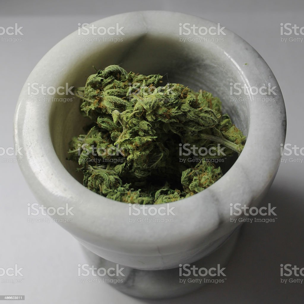 marijuana in mortar stock photo