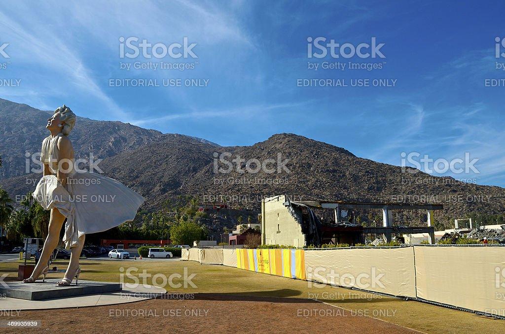 Marilyn Monroe Sculpture & Downtown reconstruction, Palm Springs, California, USA stock photo