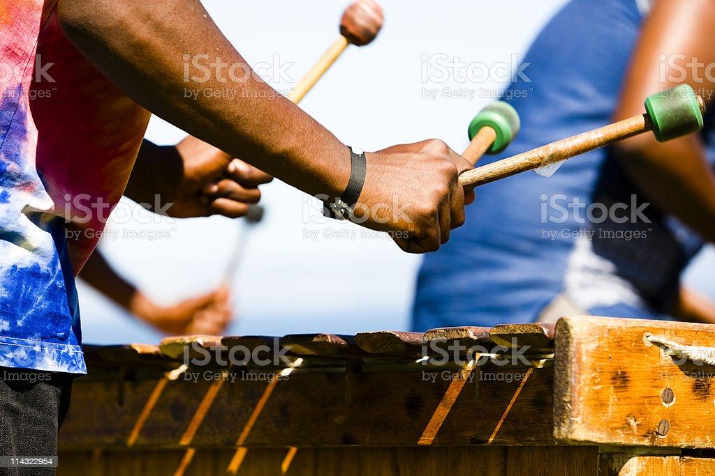 Marimba players stock photo