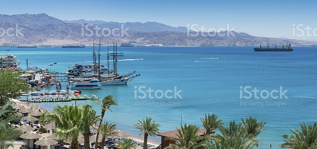 Marina and central beach in Eilat royalty-free stock photo