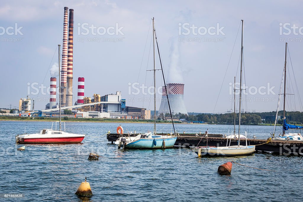 Marina and conventional power station, Rybnik, Poland stock photo