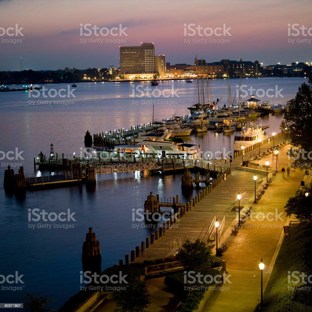 Marina and Harbor at Norfolk, Virginia Dusk royalty-free stock photo