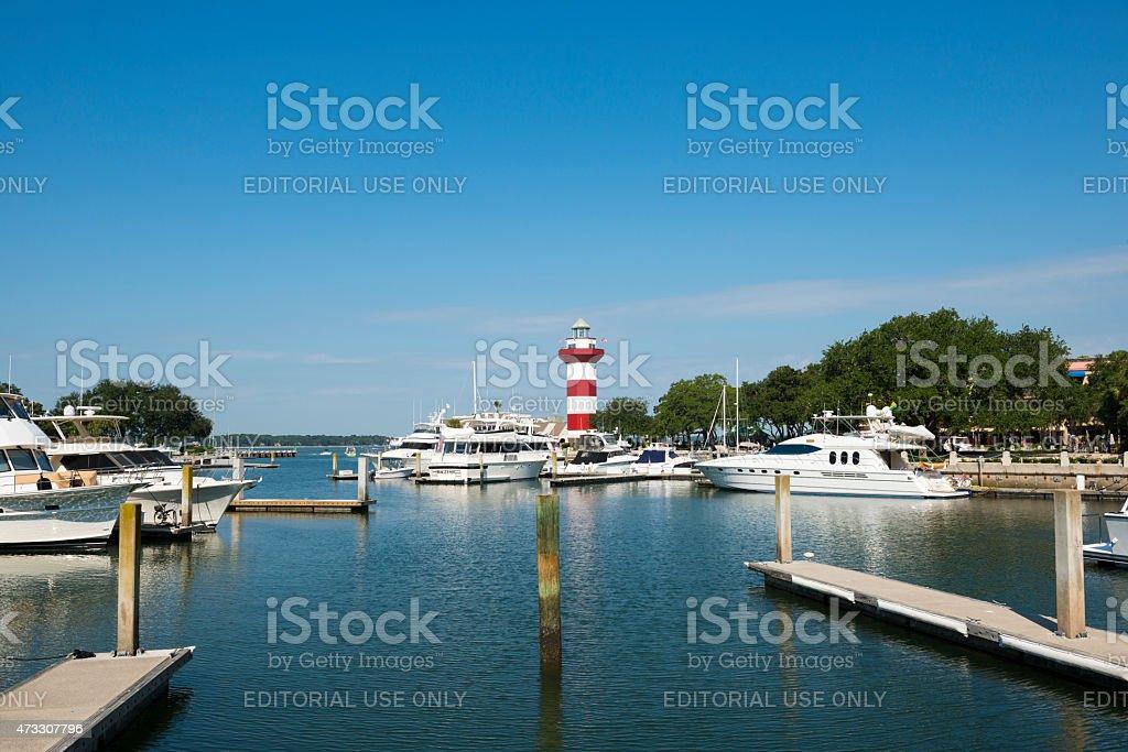 Marina and lighthouse on Hilton Head Island, South Carolina stock photo