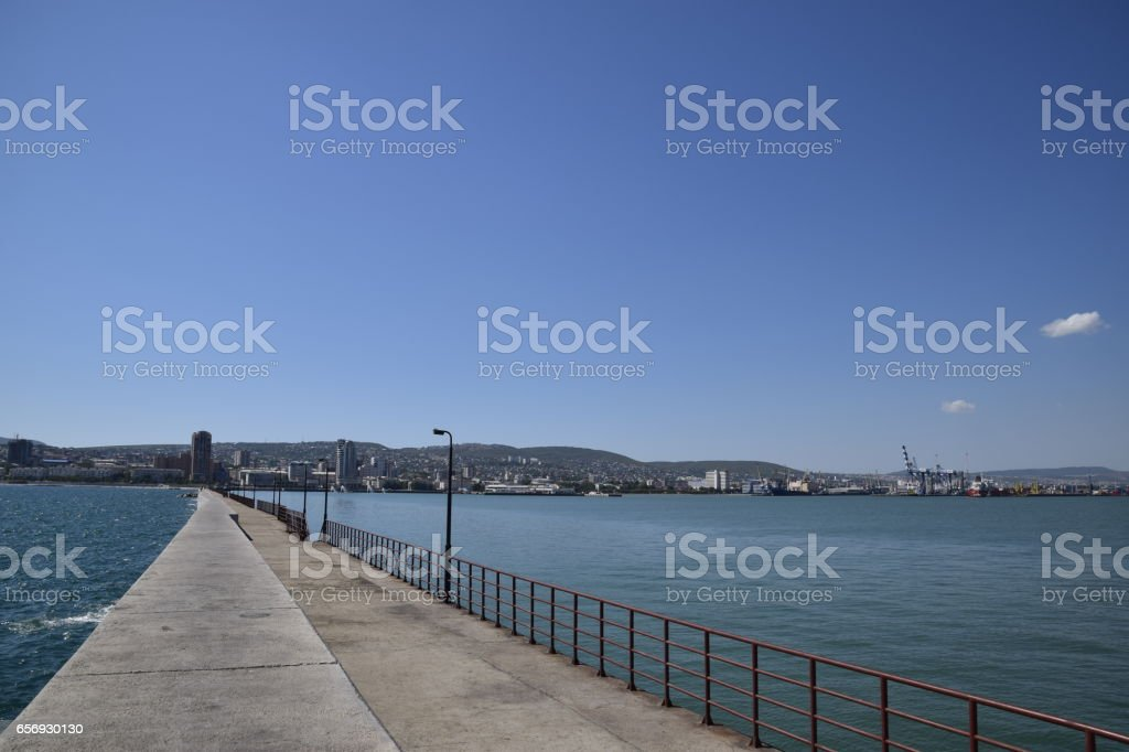 marina and quay of Novorossiysk. Urban landscape of the port city stock photo