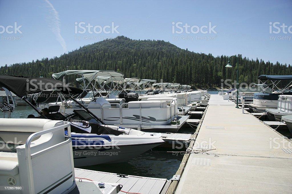 Marina at Bass Lake, California stock photo