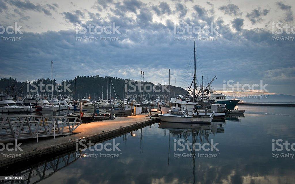 Marina at dawn stock photo