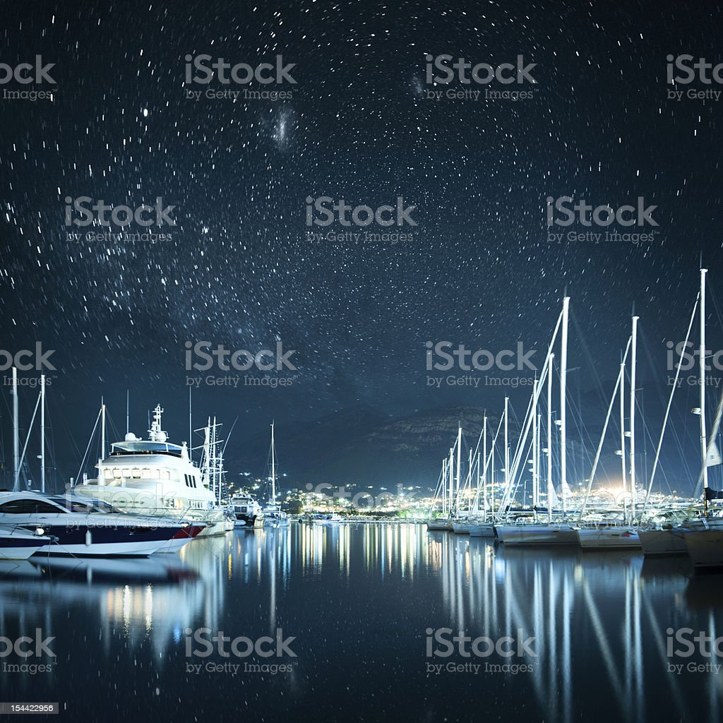 Marina at Night stock photo