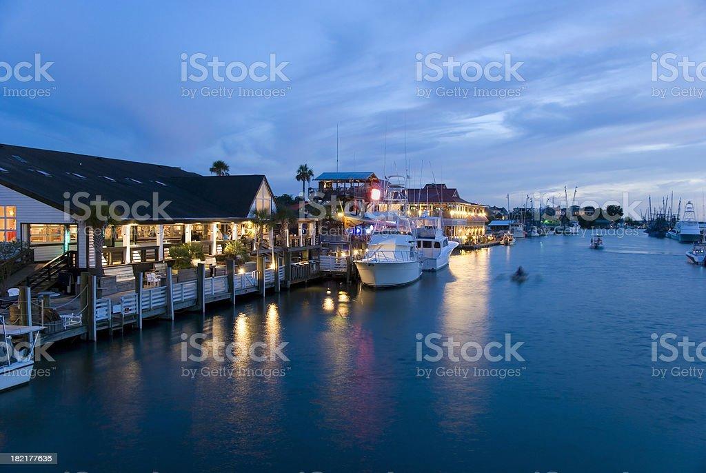 Marina at night royalty-free stock photo