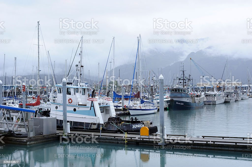 Marina at Seward of Alaska stock photo