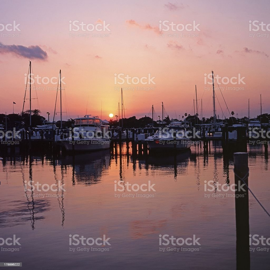 Marina at sunset, Fort Lauderdale, Florida. royalty-free stock photo