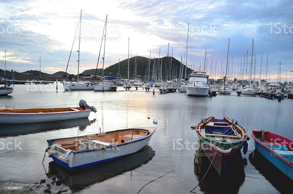marina at sunset Rodney Bay St Lucia stock photo
