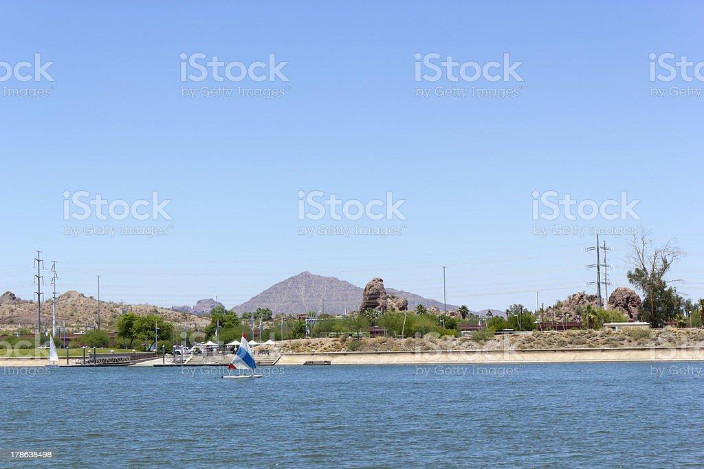 Marina at Tempe Town Lake, AZ royalty-free stock photo
