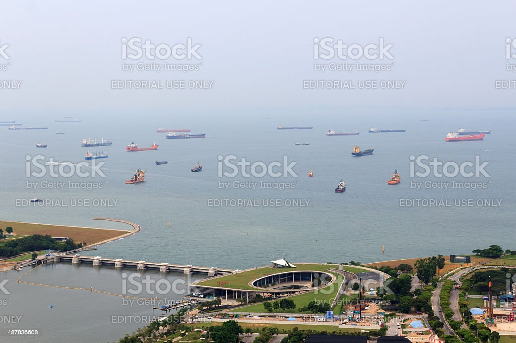 Marina Barrage dam and cargo ships in Singapore stock photo