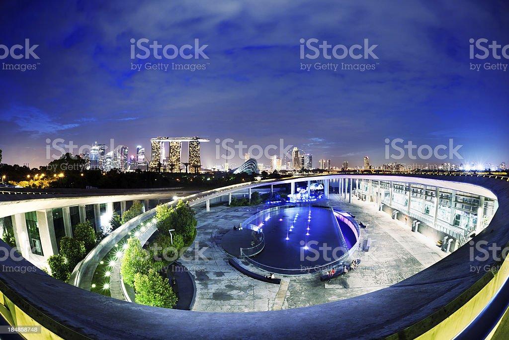 Marina Barrage with Singapore Skyline stock photo