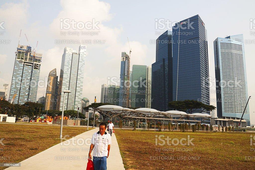 Marina Bay and backside of Singapore's skyline stock photo