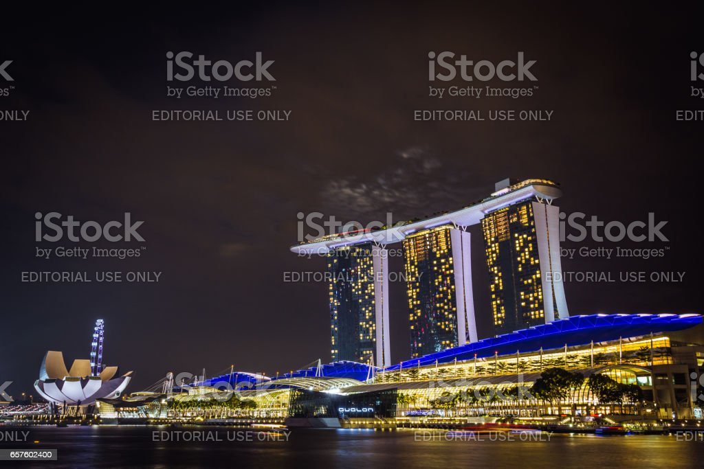 Marina Bay area at night stock photo