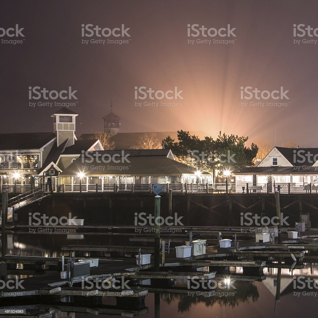 Marina Bay at night with light rays stock photo