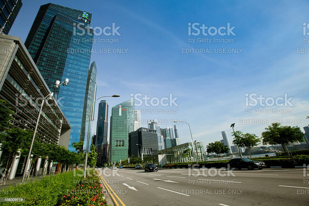 Marina Bay business district on Singapore royalty-free stock photo