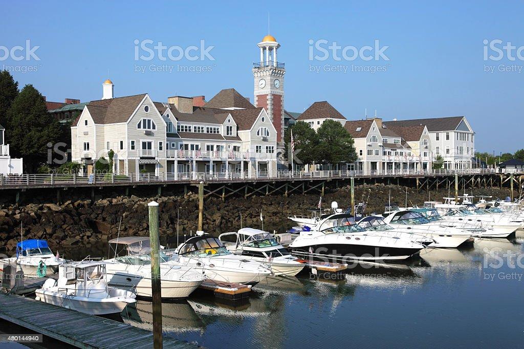 Marina Bay in Quincy, Massachusetts stock photo