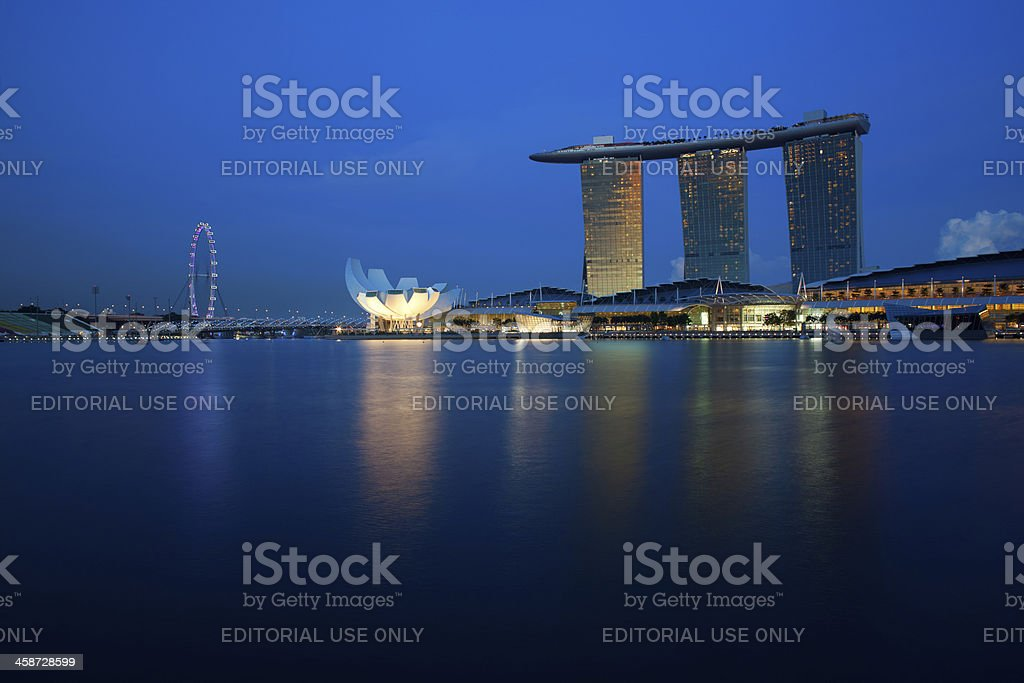 Marina Bay Sands and Singapore`s Flyer stock photo