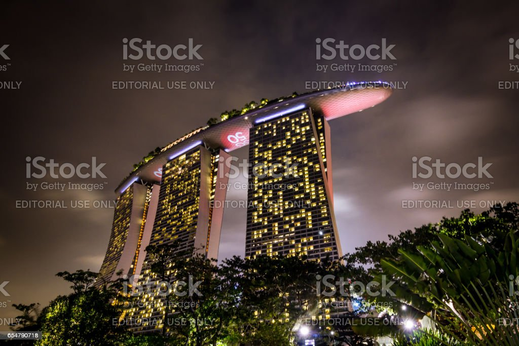 Marina Bay Sands Hotel at night stock photo