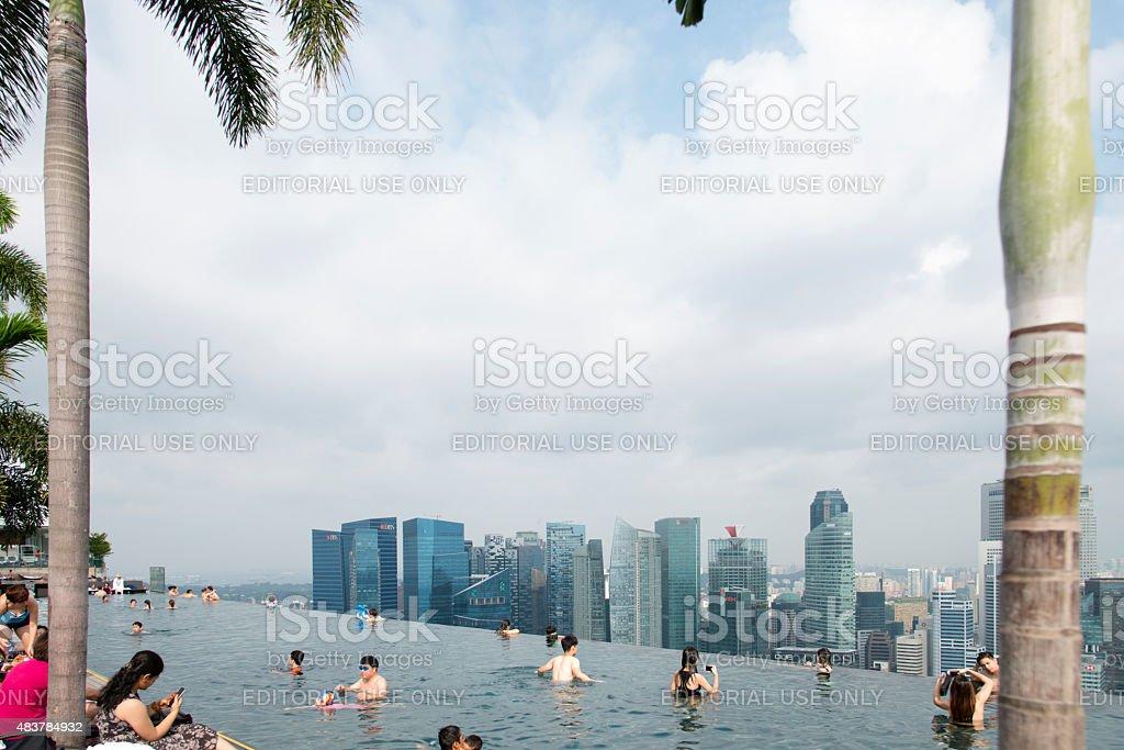 Marina Bay Sands Hotel Infinity Pool stock photo