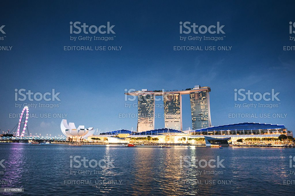 Marina Bay sands in Singapore at night stock photo