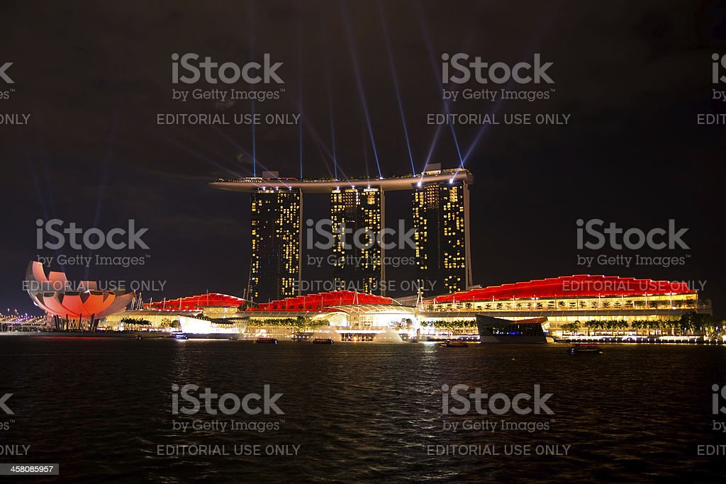 Marina Bay Sands (Red & White) royalty-free stock photo
