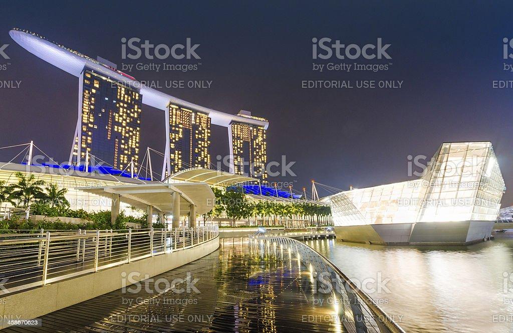 Marina Bay Singapore Night Landscape stock photo