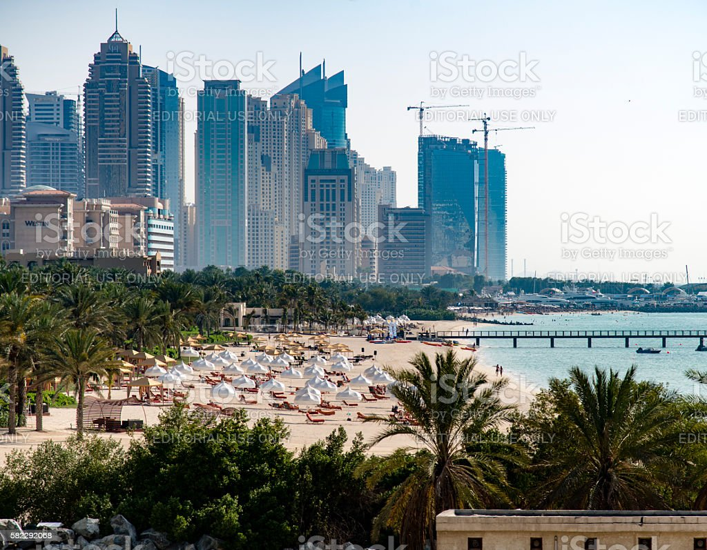 Marina Beach Dubai stock photo
