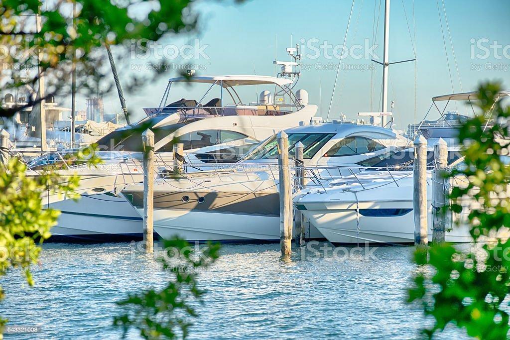 Marina boat masts and reflections background on a sunny day stock photo