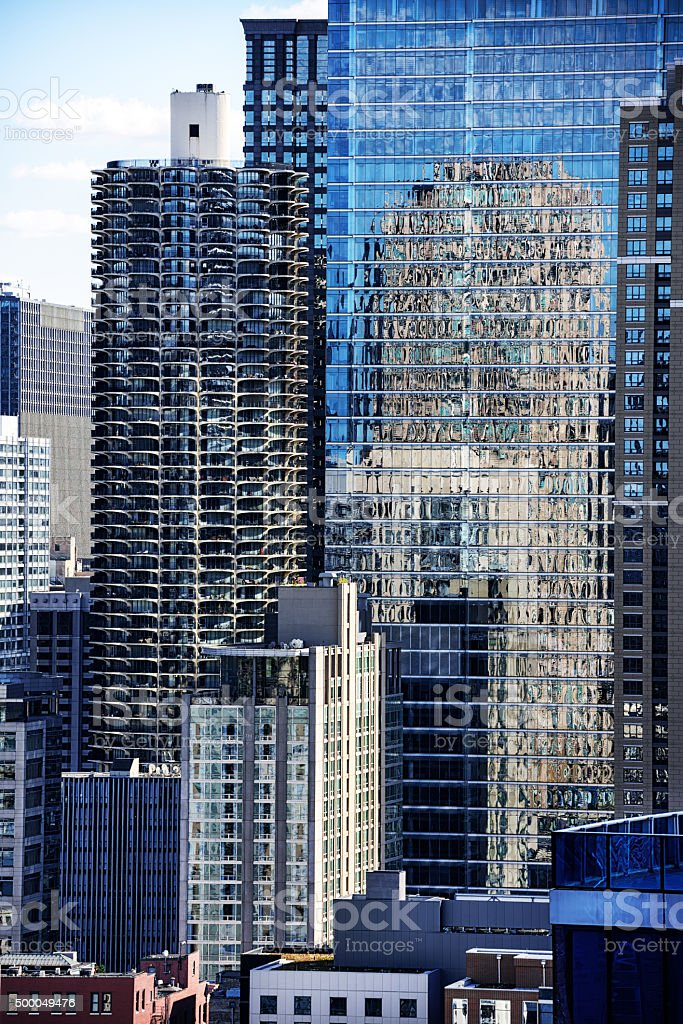 Marina City Tower surrounded by  skyscrapers, Chicago. stock photo