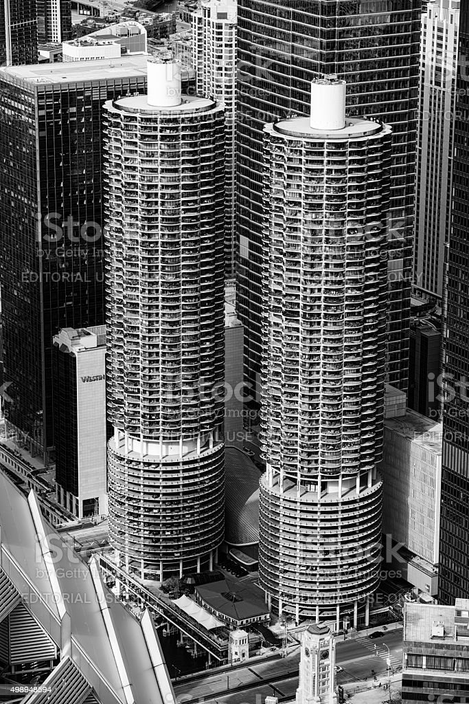 Marina City Towers, Chicago, from above stock photo