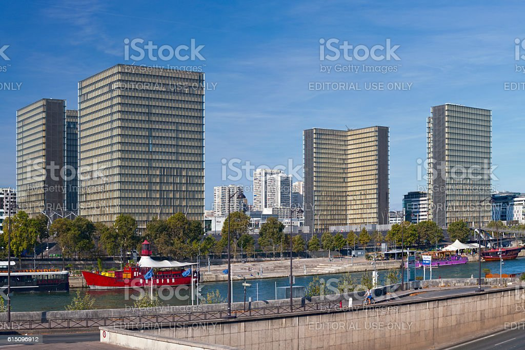 Marina de Bercy and the Bibliothèque nationale de France stock photo